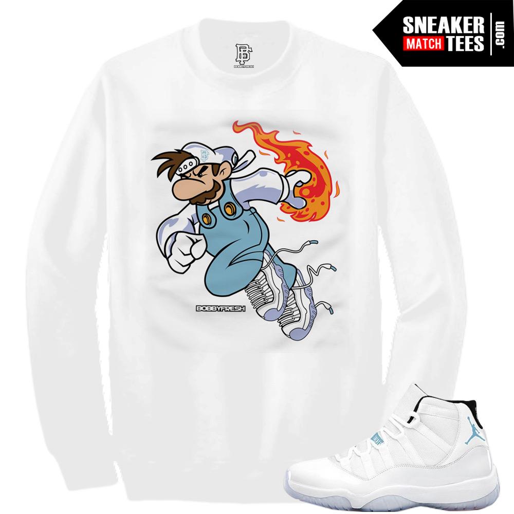 promo code e27d0 dab07 Legend Blue 11 Sneaker Tees Fireball Sneaker Tee in White CREWNECK