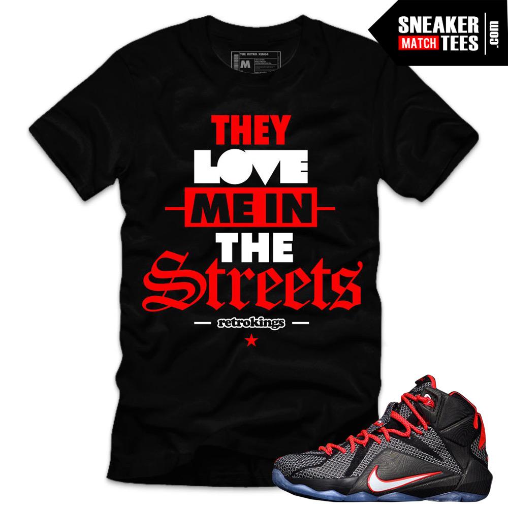 new concept eb3bb 7bf07 Lebron 12 Court Vision Matching Sneaker Tees Shirts|Love Me Sneaker Tees  Shirt Black