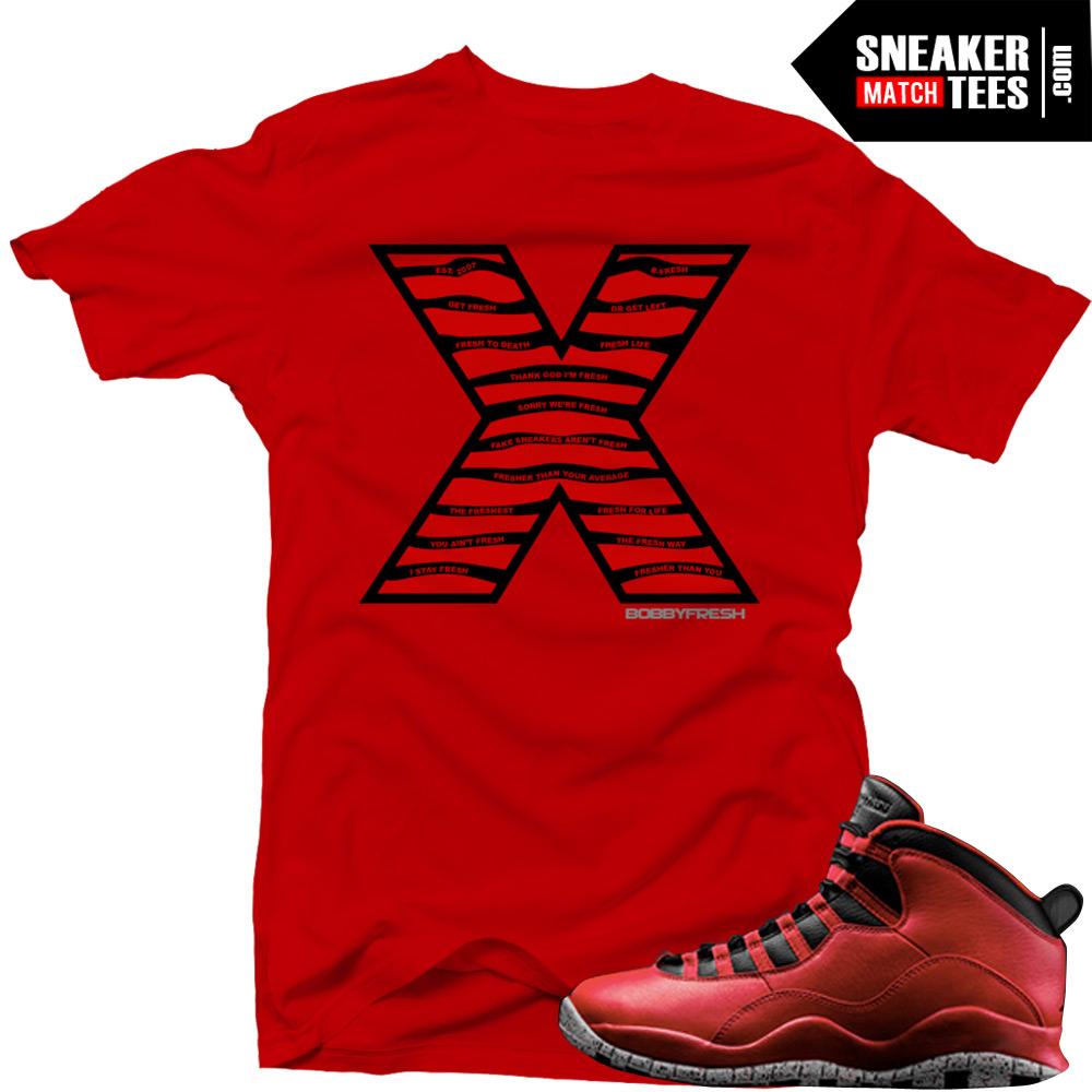 super popular d1d5f e04ca Bulls over Broadway 10s matching sneaker tees shirts |Steel X sneaker Tee  RED | Streetwear Online