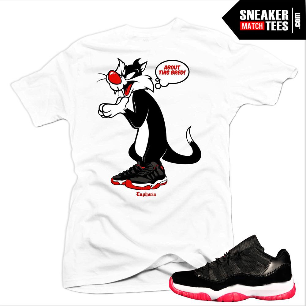 414dce6036c691 Jordan 11 Bred Low matching sneaker tees shirts