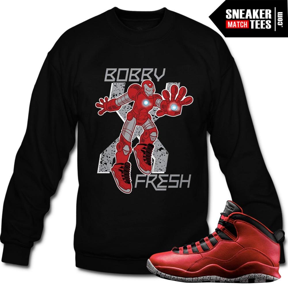 acd8d40def0 Bulls over Broadway 10s matching sneaker tees shirts |Stark X Sneaker Tee  BLACK CREWNECK | Streetwear Online