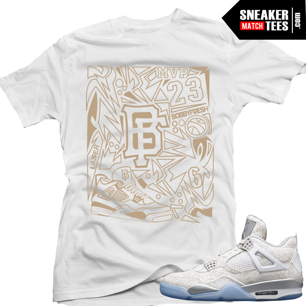 "best website e7ee7 1f534 Jordan Retro 4 Laser matching shirt ""Laser Fresh"" sneaker tee White"