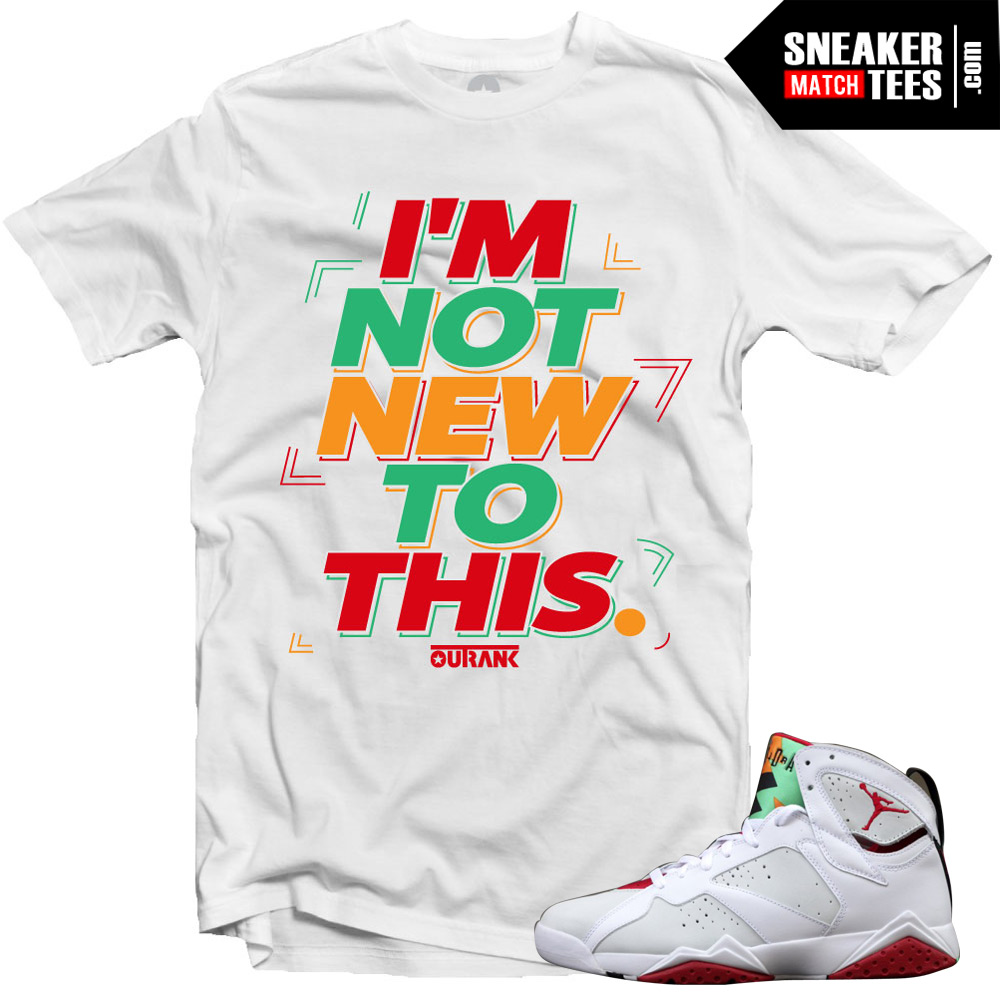 "Jordan 7 Hare shirts to match ""Not New to This"" White ..."