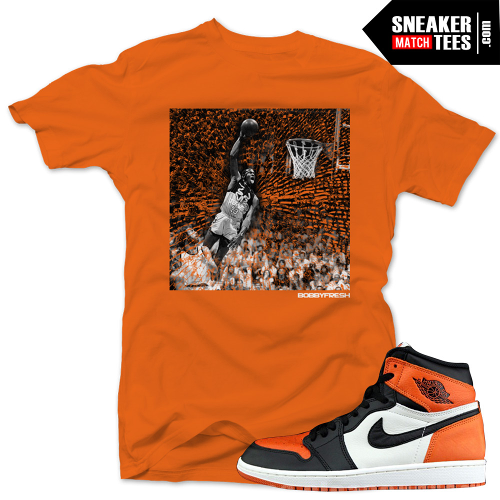 "5bffe3c76cda Jordan 1 Shattered Backboard shirts to match ""Impact"" Orange Sneaker Tees  shirt"