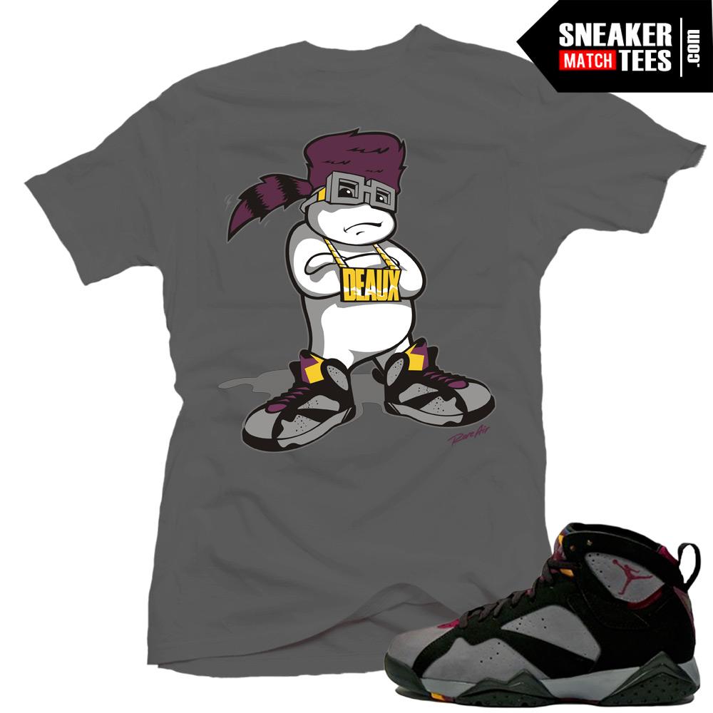 Jordan 7 bordeaux shirts to match d boy grey sneaker for Kicks on fire t shirt