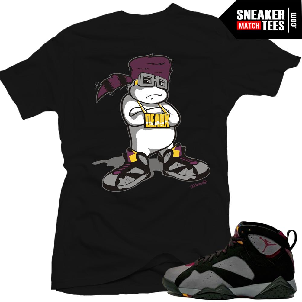 Jordan 7 bordeaux shirts to match d boy black sneaker for Kicks on fire t shirt