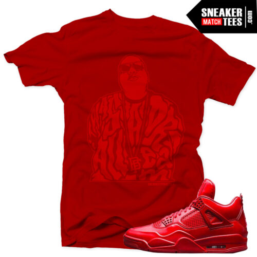 Jordan 11lab4 Red matching t shirts