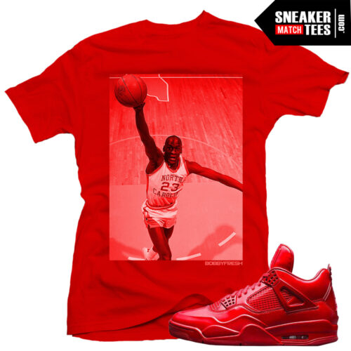 Jordan 11lab4 red sneaker tees shirts match