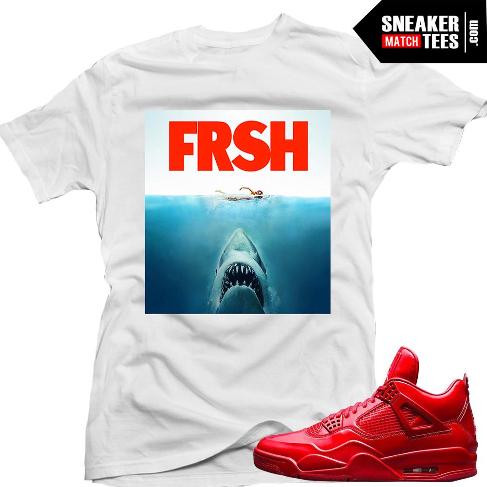 jordan 11lab4 red shirts to match sharks white sneaker ForKicks On Fire T Shirt