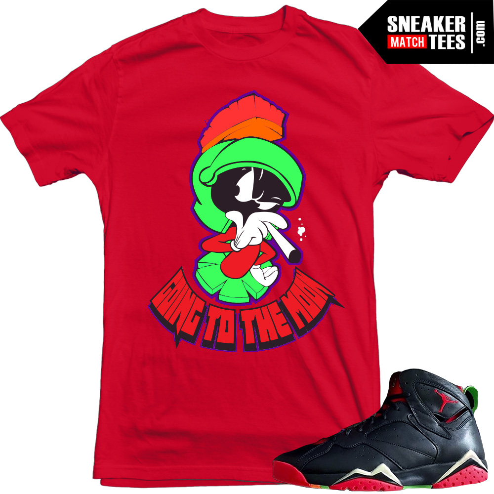 "7cc71a1f15ff52 Marvin the Martian 7s matching sneaker tees shirts ""Going to the Moon"" Red"