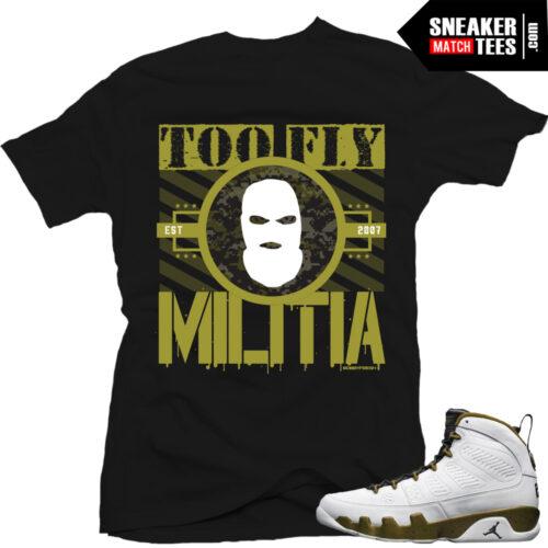 Jordan 9 Militia Green Matching shirts sneaker news statue 9s