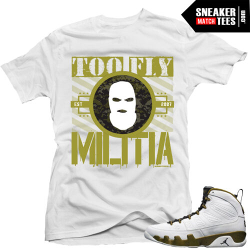 Militia Green 9s matching t shirts sneaker match tees sneaker news