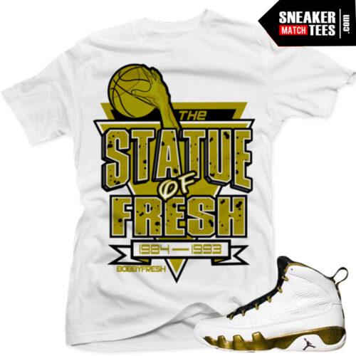 sneaker tees match Jordan 9 statue sneaker news kick on fire