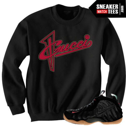 Gucci foams matching outfit