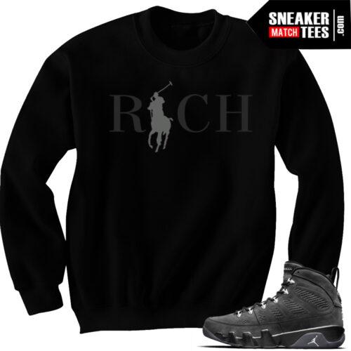 Jordan 9 Anthracite match Crewneck sweater winter gear