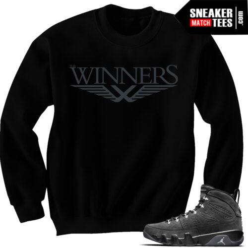 Jordan 9 Anthracite matching crewneck sweaters