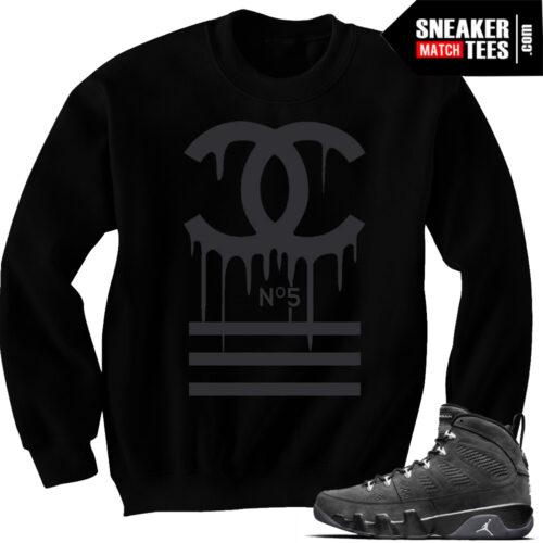 Jordan 9 Anthracite sneaker tees match sweaters