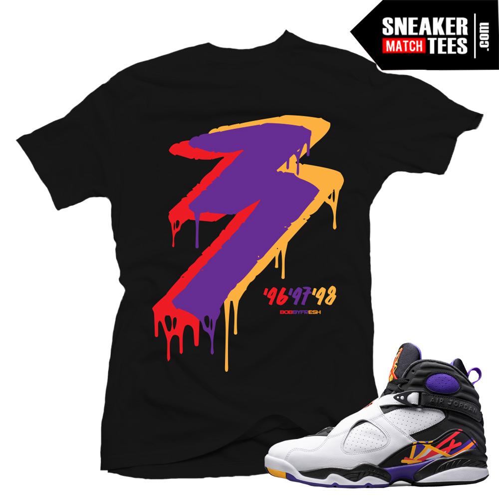 Jordan Retro 8 Three Peat Match Clothing T Shirts | Sneaker Match Tees