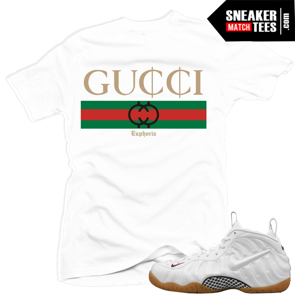 White Gucci Foamposites t shirt | Nike Gucci Foams Yeezy Foams Shirt