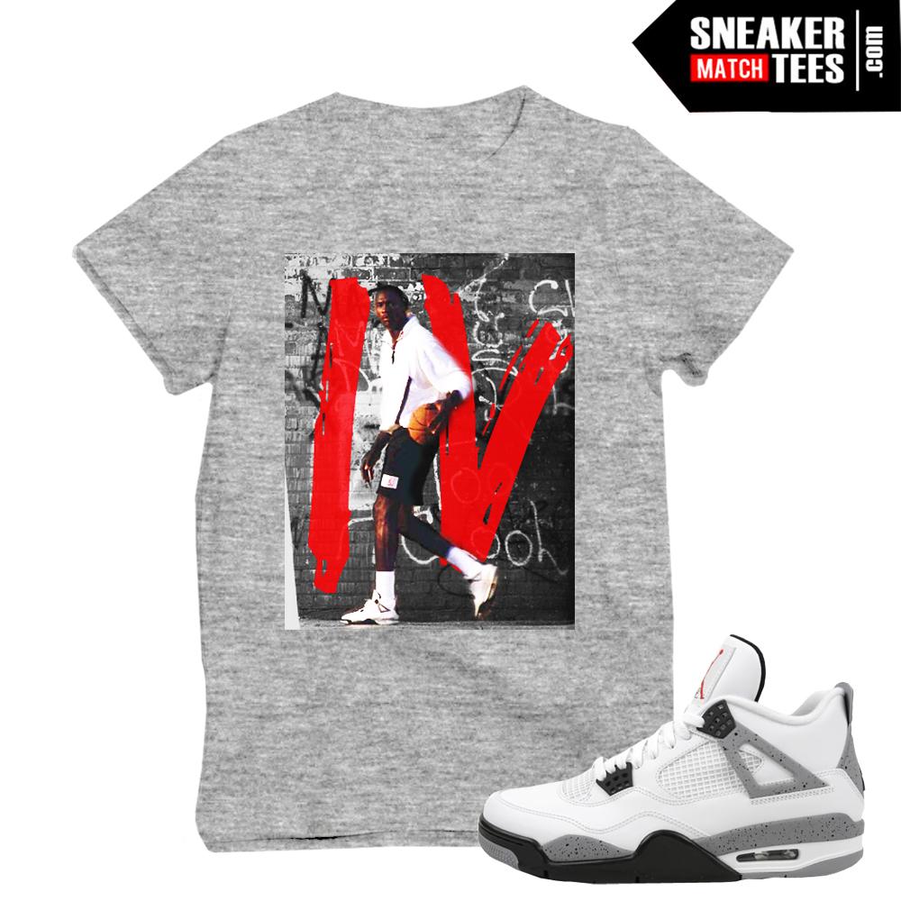 Jordan Wearing White Cement 4 Og Sneaker Match Tees