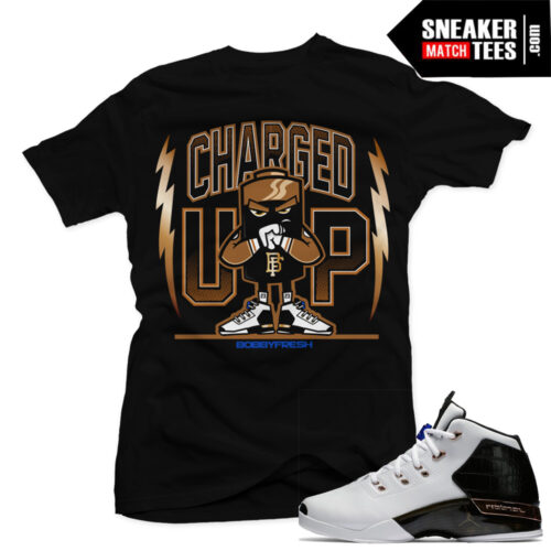 Match Copper 17 Jordan Retros Charged BLACK T shirt