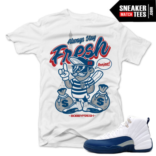 match sneakers tees shirts French Blue 12s