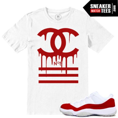 Jordan 11 Low Varsity Red sneaker tees match