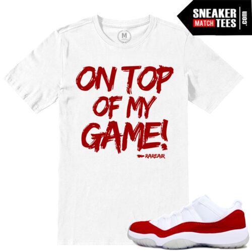 Jordan 11 low Varsity Red matching sneaker shirts
