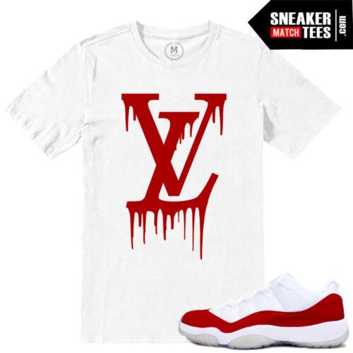 Match Air Jordan Retro 11 Low Red t shirts