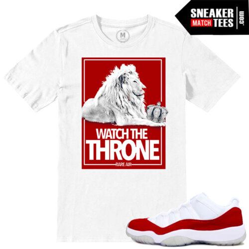 Varsity Red Jordan 11 low match sneaker shirts