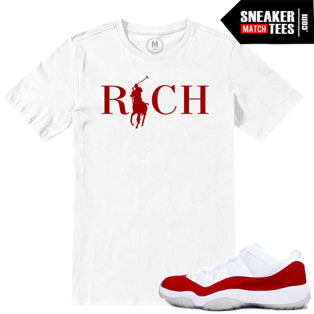 1cef075aacd Match Varsity Red 11 lows Jordan Retros | Country Club Rich | White T shirt