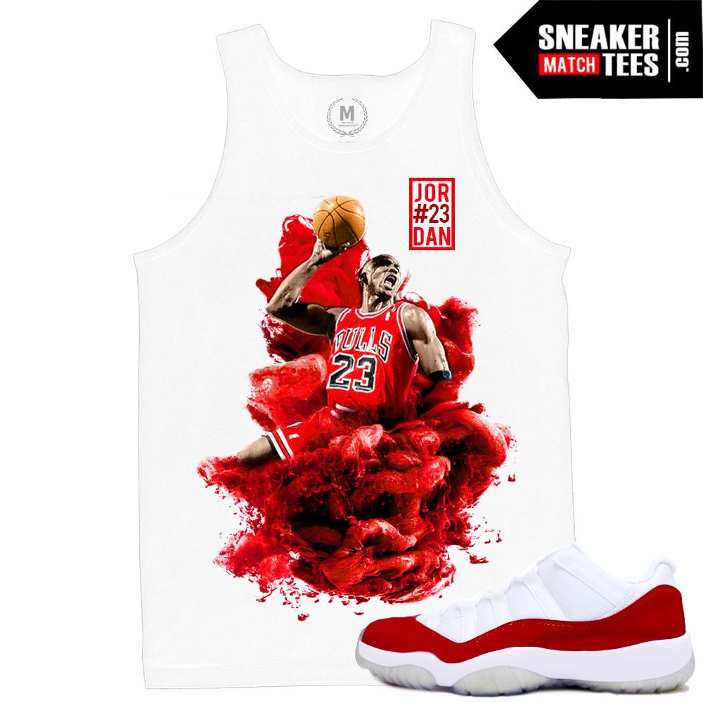 Match Varsity Red 11 lows Jordan Retros | MJ x Dirty Sprite | White Tank  Tee Shirt