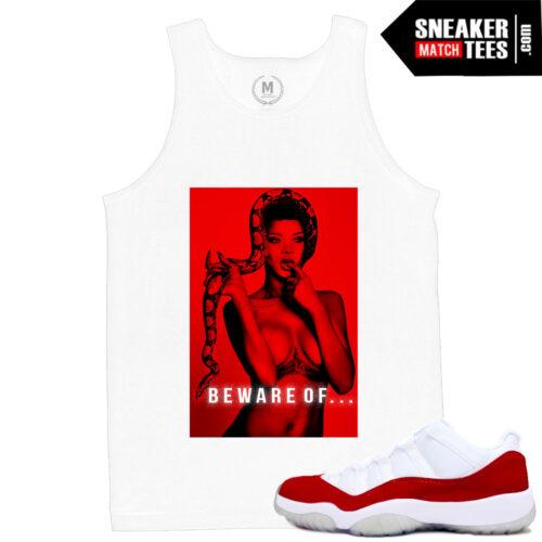 sneaker tees match Jordan 11 low Varsity Red