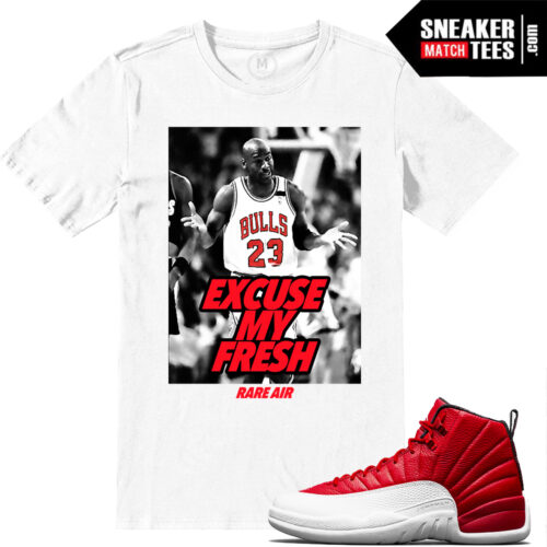 Matching Gym Red 12s t shirts