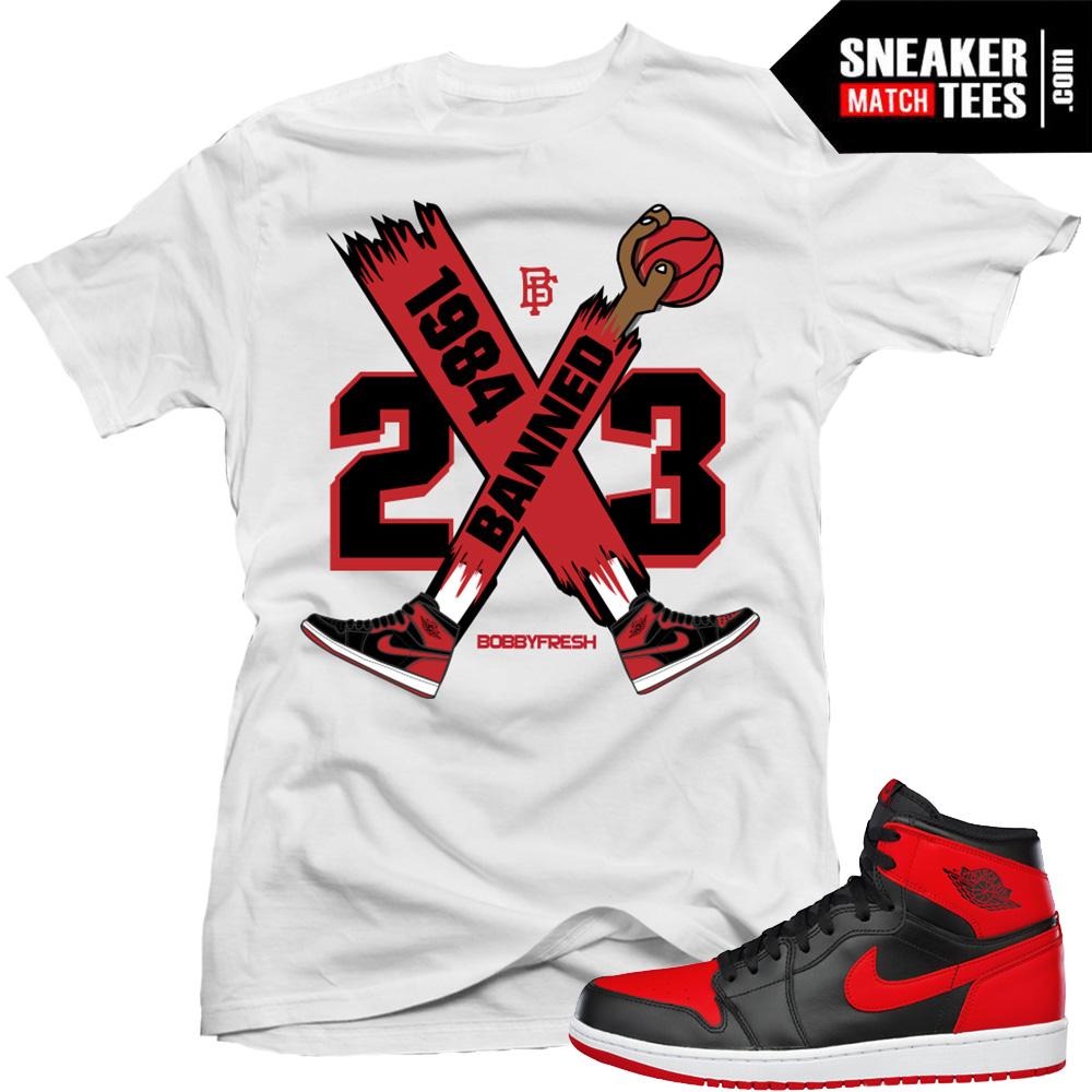 bb10459257defb Banned 1 sneaker tee shirt match Bred 1 Jordans