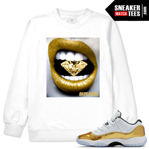 Gold 11 lows White Crewneck Match