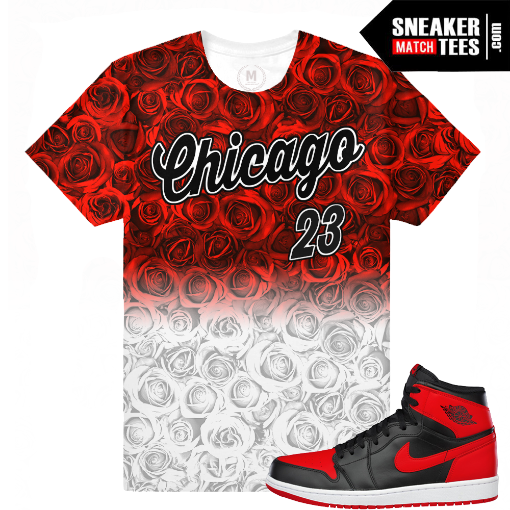 Jordan 1 bred matching t shirts sneaker match tees for Jordan royal 1 shirt