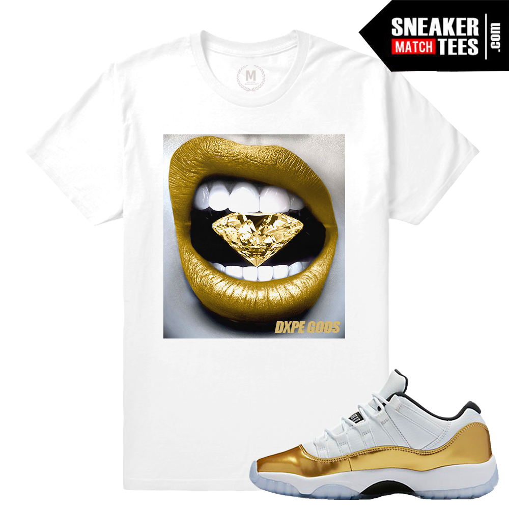 cheap for discount 07b80 3f7e9 ... Jordan 11 low gold Matching Sneaker T shirt · Gold 11s ...