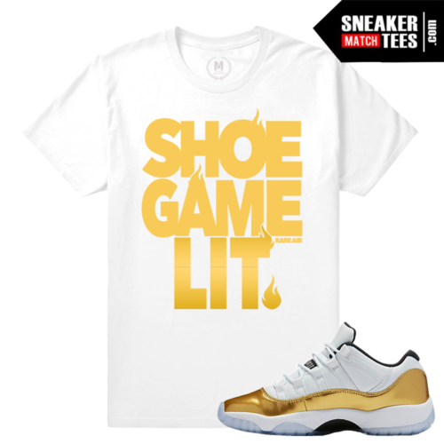 Match Jordan 11 low Gold Sneakers Tees