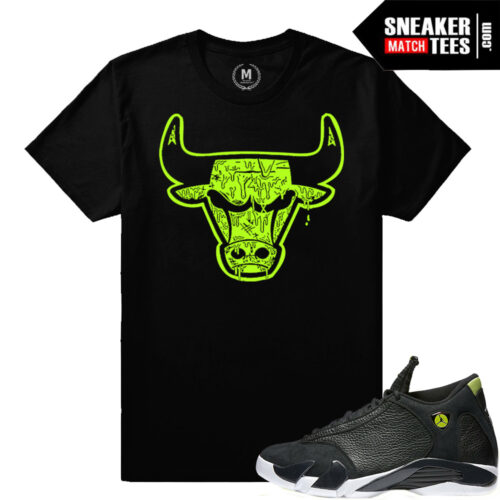 Sneaker tee match Indiglo 14 Retro Jodans
