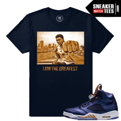 Jordan 5 Mohammad Ali T shirt Bronze 5s