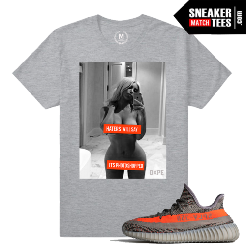 Kim Kardashian Selfie Shirt Match Yeezy Boost 350 V2 Beluga