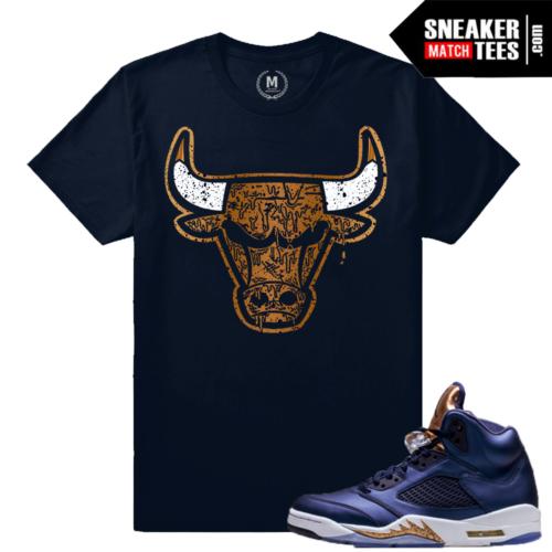 T shirt Match Sneakers Jordan 5 Bronze