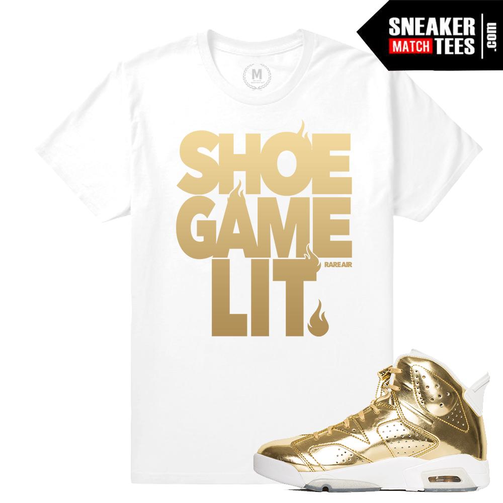 5dbb5da687cf4c Gold Jordan 6s Match T shirt