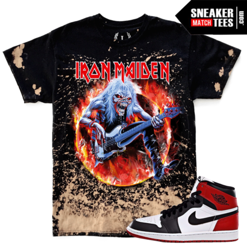 Jordan 1 Black Toe Match Iron Maiden T shirt