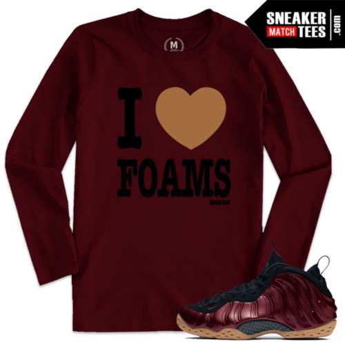 Night Maroon Foams Match I Love Foams T shirt