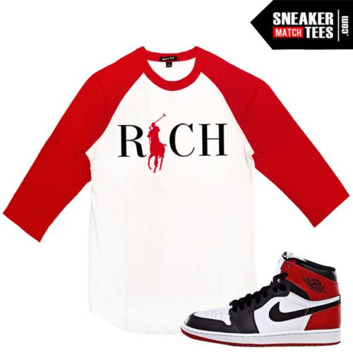 Baseball Raglan T shirt Jordan 1 Black Toe