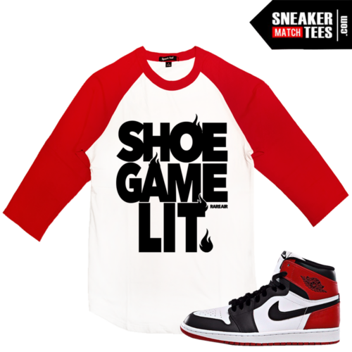 Baseball Raglan T shirt Jordan 1 Black Toe OG