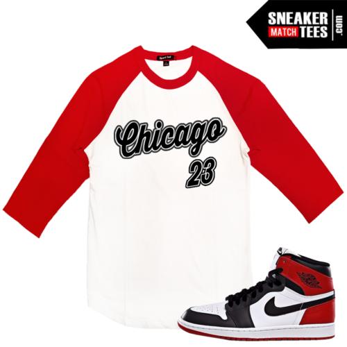 Black Toe 1 Retro Jordans Match Raglan Shirt