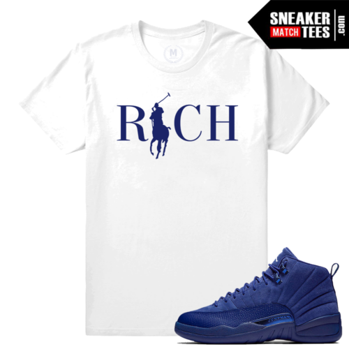 Jordan 12 T shirt Match Blue Suede